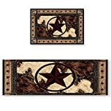 2 Pieces Non-Slip Vintage Style Kitchen/Bath Rug Runner Mat, Super Absorbent Rugs, Washable Carpet Kitchen Mats 15.7x23.6inch+15.7x47.2inch, Western Texas Star on Wood Panel Rustic