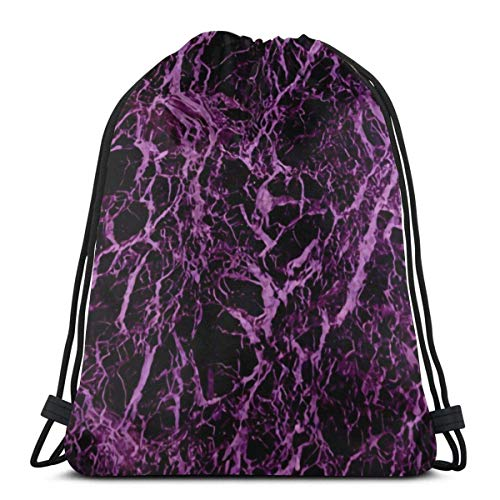 AEMAPE Trama di Marmo Viola Elegante Zaino Cinch Sack String Travel Drawstring Bag Storage Pouch 36x43 cm