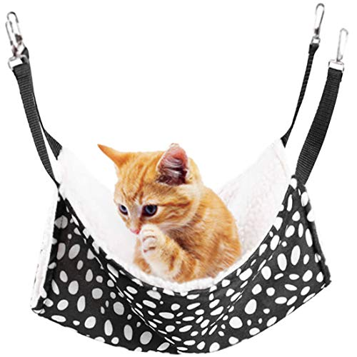 Rolybag Pet cage Hammock,pet Hammock,pet Cats Hammock,Soft Plush pet Bed,Suitable for Ferret Cotton Hammock,Guinea Pig,Hamster,Gerbil, Kittens,Cats cage,etc (Black-White dot 1)