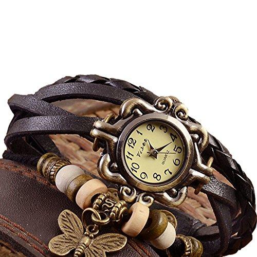 Outflower modisches Retro-Wickelarmband aus Leder mit Schmetterling Anhänger, Damenarmbanduhr, Quarz, natürlicher Stil, schwarze Uhr Armband coffee
