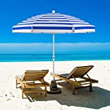 MOVTOTOP Beach Umbrella, 6.5ft Beach Umbrella with Sand Anchor & Tilt Mechanism, Portable UV 50+ Protection Beach Umbrella with Carry Bag for Patio Garden Beach Outdoor Blue/White
