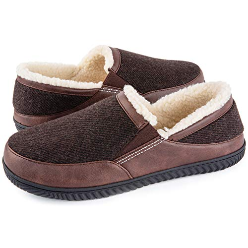 ULTRAIDEAS Men's Memory Foam Slippers with Cozy Fleece Lining, Closed Back House Slippers with Anti-Skid Rubber Sole (Coffee, 9)