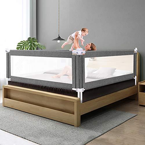 ZEHNHASE Barrera de cama para bebé 100CM, Barandilla de La Cama para Niños - Anticaídas, Altura ajustable, Fácil Instalación, gris, 1pc