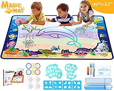 WINWONBRA Aqua Magic Doodle Mat 40 X 32 Inches Extra Large Water Drawing Doodling Mat Coloring Mat, Educational Toy and Ideal Gift for Toddlers, Boys, Girls Age of 2 3 4 5 6 7 8