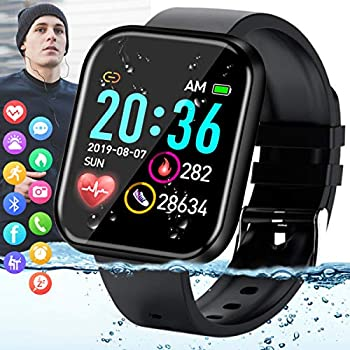 Amokeoo Smart Watch,Fitness Watch Activity Tracker with Heart Rate Blood Pressure Monitor Bluetooth Smartwatch Touch Screen IP67 Waterproof Sports Tracker Watch for Android iOS Phones Men Women Black