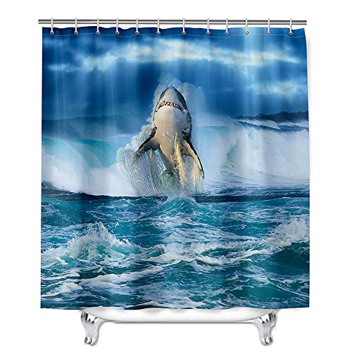 Hiser Duschvorhang aus Polyester Wasserdichter,Waschbare Duschvorhänge mit 12 Duschvorhangringen, Duschvorhang mit Weißer Hai-Druck,Badewannevorhang für Badezimmer (Große Wellen,180x180cm)