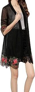 Feitb Chemisier de Plage /à Imprim/é L/éopard Mode Four Femmes Maillot de Bain Dentelle Cardigan Gland Kimono Boh/ème Embellissement Fleurs Jupe de Plage en Chiffon Grand Ch/âle