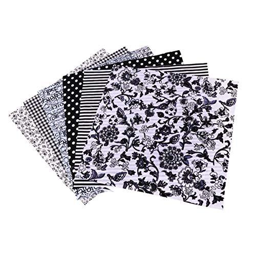 Artibetter 7 Piezas Tela Floral Tela de Algodón Tela de Retazos Material de Bricolaje Cuadrados Patrón Floral Algodón para Costura de Scrapbooking (Negro)