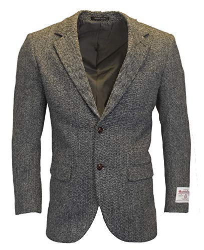 Walker & Hawkes - Herren Country-Blazer - Klassisch Schottische Jacke aus Harris-Tweed - Fischgrätmuster - Stahlgrau - XL
