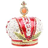FGDSA Adornos Esculturas Bejeweled Royal Crown Trinket Box Caja De Joyería De Metal Coleccionable Novedad Regalos Ring Holder