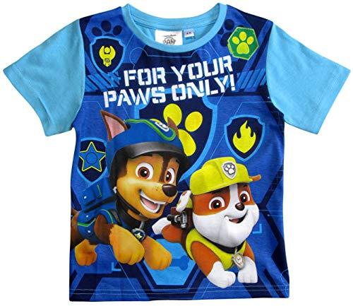 Paw Patrol - Helfer auf Vier Pfoten T-Shirt Jungen Kurz (Hellblau, 110-116)