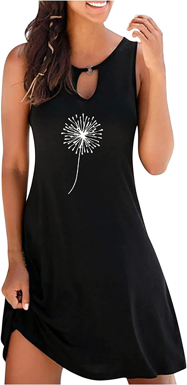 Sun Dresses Women Summer Fashion Women's Casual Sleeveless O-Neck Ladies Hollow Out Slim Mini Dress Casual Sexy Boho