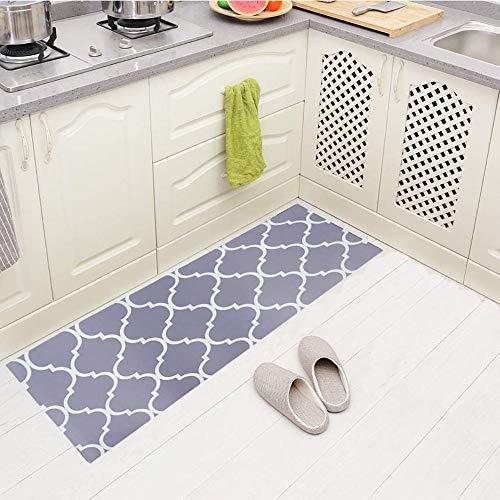 Carvapet Comfort Anti-Fatigue Kitchen Rug Standing Desk Mat Waterproof Decorative Ergonomic Floor Pad Kitchen Rug Moroccan Trellis Gray 18'x47'