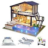 Kit de Maison de poupée Miniature en Bois de Bricolage - Appartement de Temps avec la Piscine et la boîte à Musique de lumière de LED