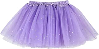 Buenos Ninos Girl's 3 Layers Sequin Ballet Skirt with Sparkling Stars Dress-up Tutu