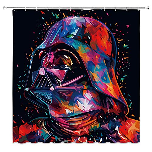 AMFD Shower Curtain Cool Robot Creative Universe Cool Pink Black Bathroom Curtains 70 x 70 Inches Polyester Fabric Waterproof Include Hooks