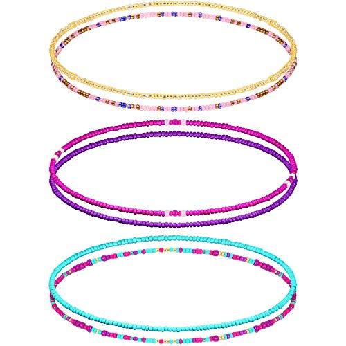 Yaomiao 6 Pieces Summer Jewelry Waist Bead Set African Waist Bead Colorful Elastic Body Chain Summer Bikini Belly Bead Boho Beaded Beach Chain for Woman Girl