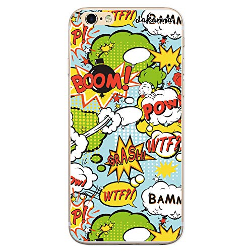dakanna Funda Compatible con [iPhone 6 Plus - 6S Plus] de Silicona Flexible, Dibujo Diseño [Graffiti Estilo Comic con Frases], Color [Borde Transparente] Carcasa Case Cover de Gel TPU para Smartphone