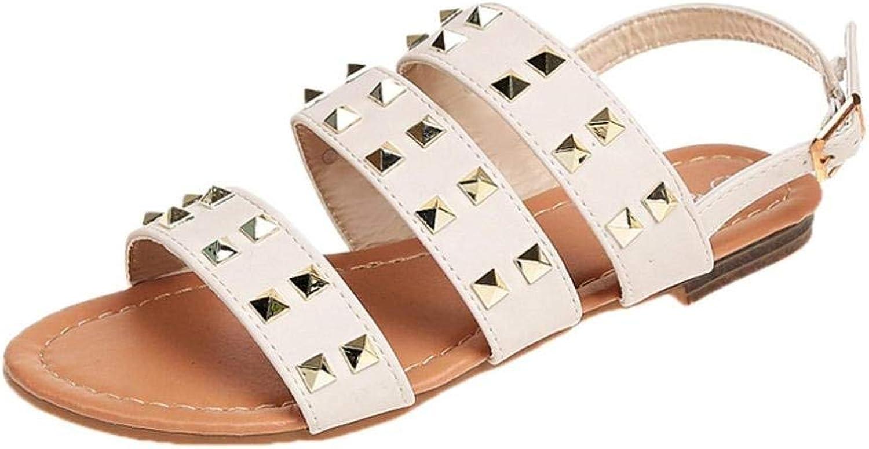 JaHGDU Fashion Women Sandals Summer Boom shoes Flat Rivets White Solid color Roman Casual Convenient Comfort Daily Beach Soft Sandals