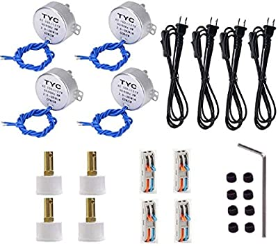 4 Set Cup Turner Kit Accessories for Crafts Tumbler,Includes Synchronous Turntable Motors,Coupling Connectors,DN20 Cap, Switch Cords - Ideal for Cuptisserie,Tumbler Cup Rotator Machince (2.5-3R)