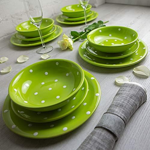 City to Cottage | Service à vaisselle pour quatre, douze pièces | vert pomme à pois blancs en céramique fait et peint à la main | assiettes plates, assiettes à dessert, bol