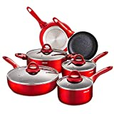 Nonstick Cookware Set 10 Pieces,Induction Pots and Pans Sets, Induction Frying Pan, Chemical-Free Kitchen Sets with Stay-Cool Handle, Saucepan, Stock Pot, Skillet