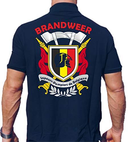 Feuer1 Polo (bleu marine/bleu marine) Brandweer – Sapeurs Pompiers de Belgique, multicolore 3XL bleu marine