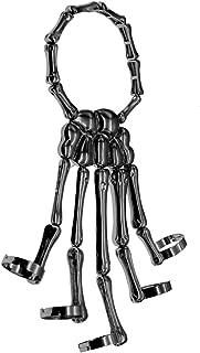 Trustavis Men Women's Halloween Skull Skeleton Hand Bracelet with Ring
