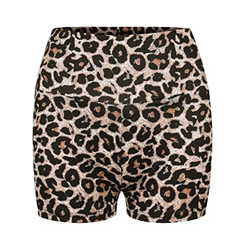 Pudyor Pantalones Cortos Deportivos para Mujer Shorts Leopardo de Cintura Alta Leggins Push up de Yoga para Correr Gym Fitness Mallas Transpirables Elásticos