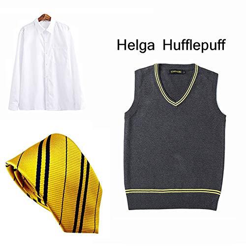 LISI Damen Herren Cosplay Kostum, Hufflepuff Pullunder Hogwarts College Weste Pullover + Hemd + Krawatte, Kinder Erwachsene Alltagskleidung Weihnachten,B,L
