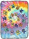 Bioworld Grateful Dead Dancing Bears Tie Dye Swirl Plush Fleece Throw Blanket