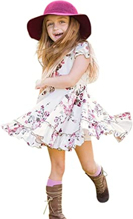 ba47e407b9 Cute Toddler Baby Girls Floral Summer Dresses Ruffle Short Sleeve Flowy  Princess Mini Beach Sundress
