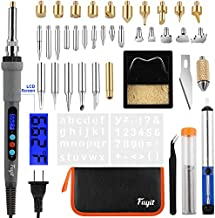 Fuyit 42Pcs LCD Wood Burning Kit, Pyrography Pen with Various Temperature Control, Wood Burner Craft Tools for Wood Burning, Soldering, Carving, Embossing (110V, 60W)