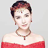 Baroque Gold Metal Queen Pageant Crown Mermaid Bride Princess Red Rhinestone Tiara Headband