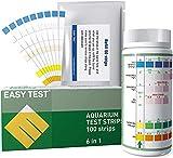 EASYTEST Bandelette Aquarium 6 en1, Kit de Test D'Aquarium,Bandelette Aquariophilie,Bandelette Test Eau pour Nitrate, Nitrite, La Dureté Générale,Chlore Libre,Carbonate, pH (50+50 Bandelettes)
