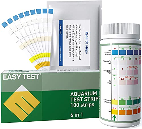 Aquarium Test Strips,50+50 Refill Strips,Aquarium Test kit for Fish Tank Freshwater Saltwater, Fast and Accurate Test kit for Testing Nitrate,Nitrite,General Hardness,Free Chlorine,Carbonate,pH