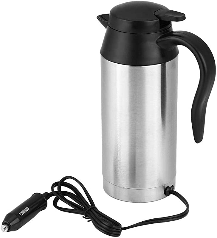 Car Electric Kettle 750ml Heating Thermos Portable Boiling Mug DC 12V Hot Water Pot Stainless Steel Boil Cup Quick Heated With Temperature Control Powered By Cigarette Lighter For Coffee Tea Milk