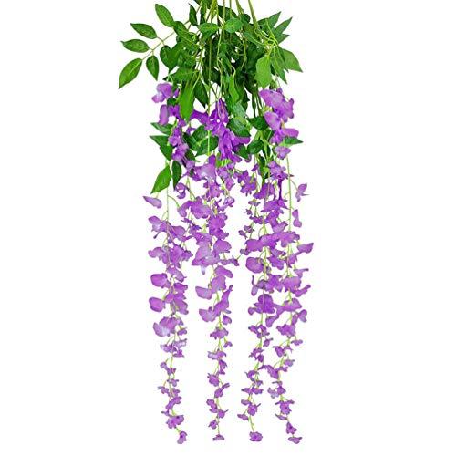 Qingsb Guirnalda de flores artificiales de seda colgar hojas de vinilo, decoración...