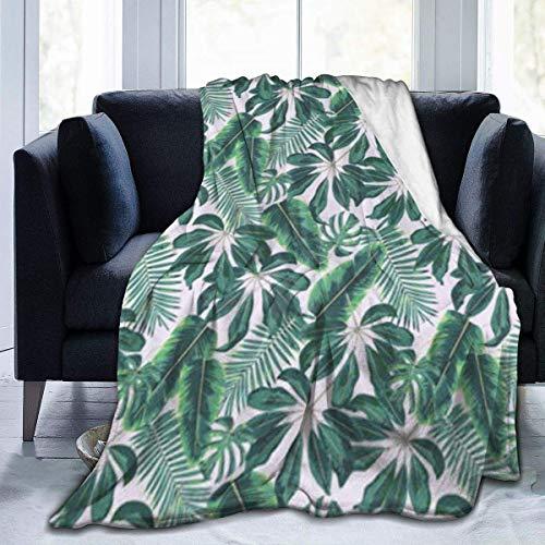 N/A Manta de Franela, Hojas Tropicales Mixtas Lisos Colores lujosos súper Suaves para Manta de Franela de jardín,127x153cm