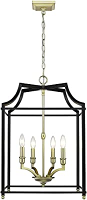 Golden Lighting 8401-4P SB-BLK Leighton Pendant, Satin Brass