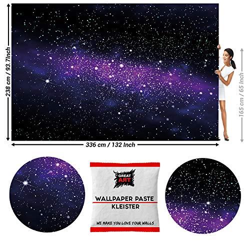 GREAT ART Fototapete Universum Weltall 336 x 238 cm – Kinderzimmer Jungen Mädchen Galaxie Weltraum Milchstraße Wandtapete Dekoration Wandbild – 8 Teile Tapete inklusive Kleister