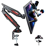 IMLIB Single Monitor Desk Mount - Adjustable Gaming Monitor Stand for Computer Screen 17 to 32 inches, Gas Spring Monitor Arm with C Clamp and Grommet Mounting Base, Hold up to 17.6 lbs