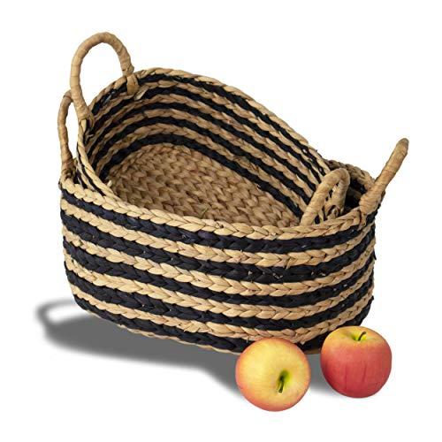 MadeTerra - Juego de 2 cestas de almacenamiento de bambú con asas, cesta decorativa organizadora para cocina, sala de estar, vestir, bebé, guardería, juguete para niños (rayas)