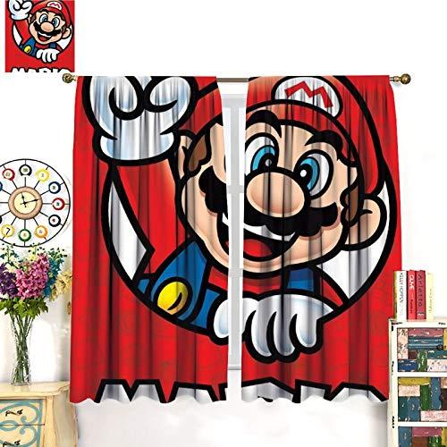 Super Mario Adventure Comic Game Cortinas resistentes al desgaste, 183 x 160 cm, el ambiente de dormir se vuelve negro para comedor, dormitorio