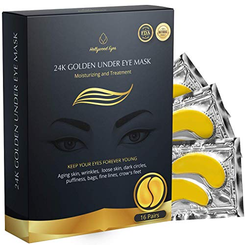 BrightJungle Under Eye Collagen Patch, 24K Gold Anti-Aging Mask, Pads for Puffy Eyes & Bags, Dark Circles and Wrinkles, with Hydrogel, Deep Moisturizing Improves elasticity, 16 Pairs