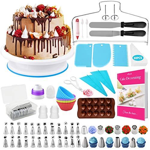 HapeeFun Torta Giratoria,95PCS Decoración de Pasteles Kit,Juego de Decoración de Pasteles,Cake Turntable, Manga Pastelera, Herramienta de Pastelería con 32 Boquillas de Tubería para Cumpleaños