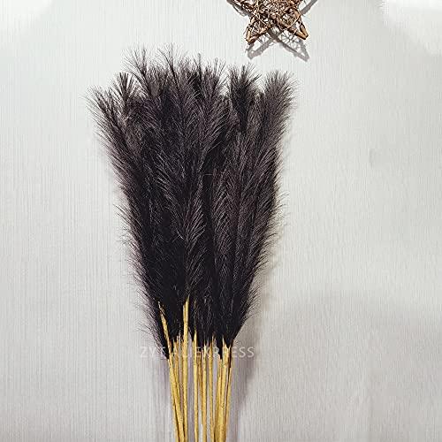 Kaxceay 122cm Faux Pampas Gras Dekor Wolke Gras Künstliche Phragmiten Australien Vase Dekorationen Gefälschte Schilf Pflanzen ewige Blumen (Color : 1pc Black Reed)
