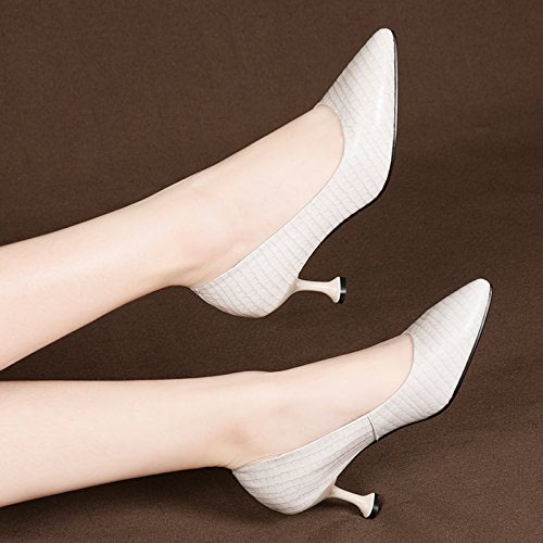 AJUNR Femmes Loisirs Printemps et été Mode Sandales Tête Pointue Fine Talon de Chaussure Unique 7cm de Haut Talon Chaussures Tendance Chaussures Basses Peu Profondes