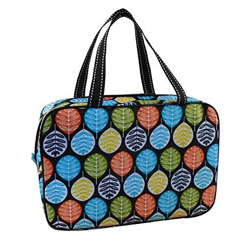 Adaly Simplicity - Bolsa de baño para mujer, diseño de hojas, para fitness, yoga, Naiant de viaje, para la compra, portátil, color negro