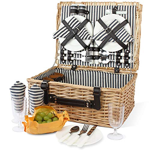 Cesta de picnic para 4 personas, cesta de mimbre grande con compartimento grande, cesta de picnic de mimbre grande hecha a mano con utensilios cubiertos